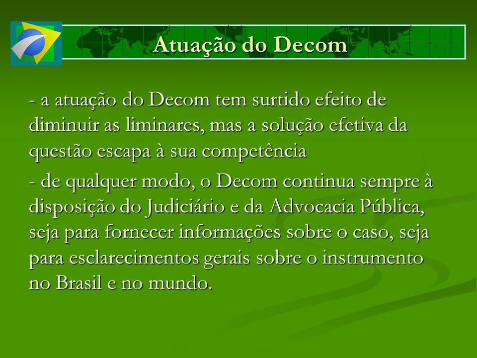 Atuação do Decom - a atuação do Decom tem surtido efeito de diminuir as liminares, mas a solução efetiva da questão escapa à sua competência.