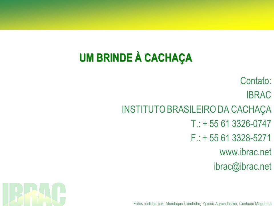 UM BRINDE À CACHAÇA Contato: IBRAC INSTITUTO BRASILEIRO DA CACHAÇA
