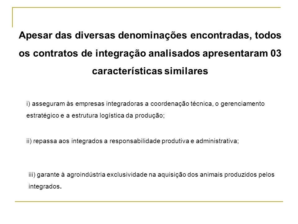 Apesar das diversas denominações encontradas, todos os contratos de integração analisados apresentaram 03 características similares