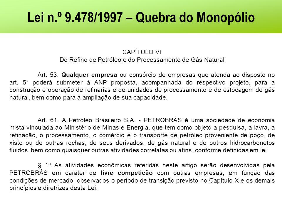 Lei n.º 9.478/1997 – Quebra do Monopólio
