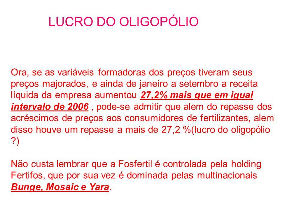 LUCRO DO OLIGOPÓLIO