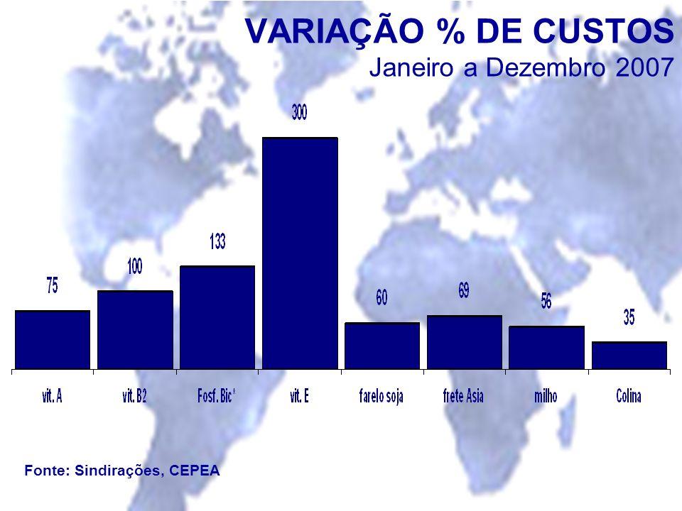 VARIAÇÃO % DE CUSTOS Janeiro a Dezembro 2007