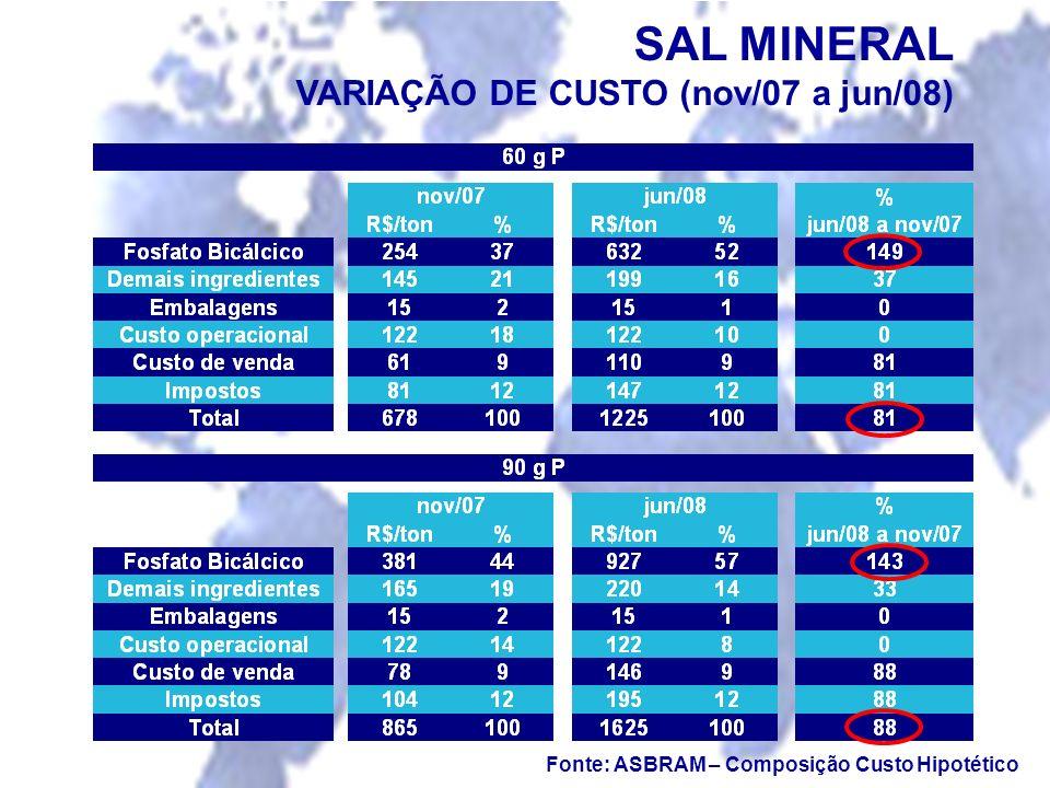 SAL MINERAL VARIAÇÃO DE CUSTO (nov/07 a jun/08)