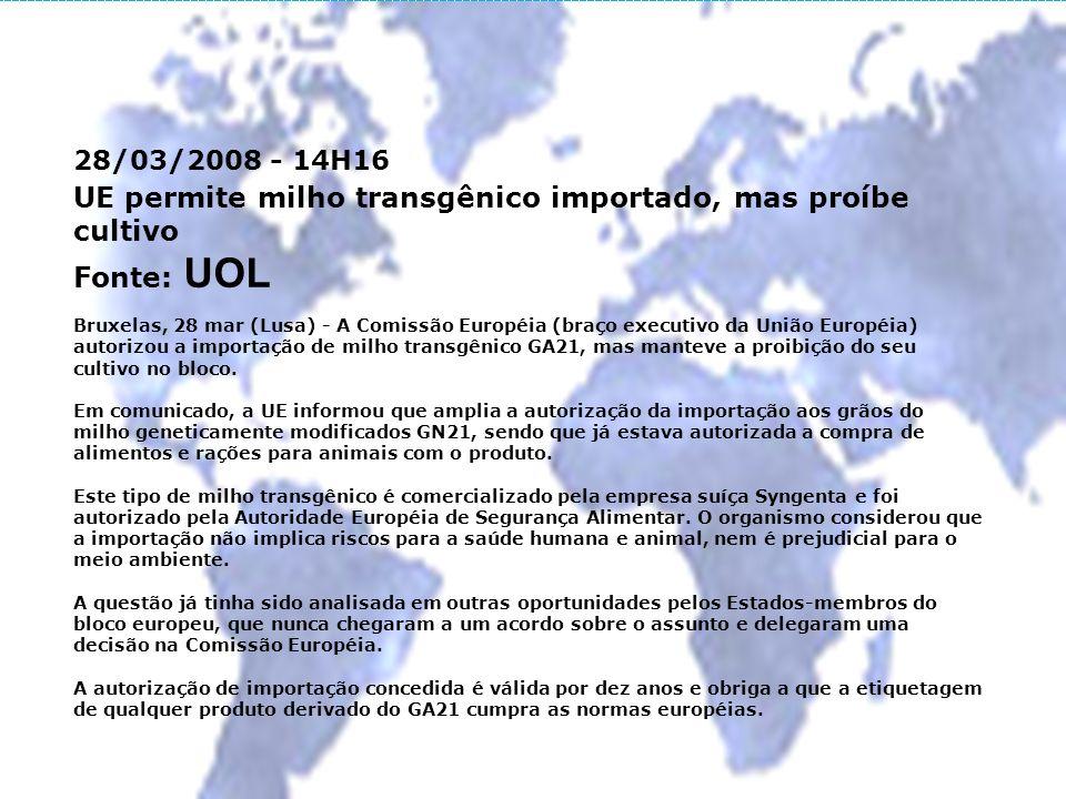 UE permite milho transgênico importado, mas proíbe cultivo Fonte: UOL