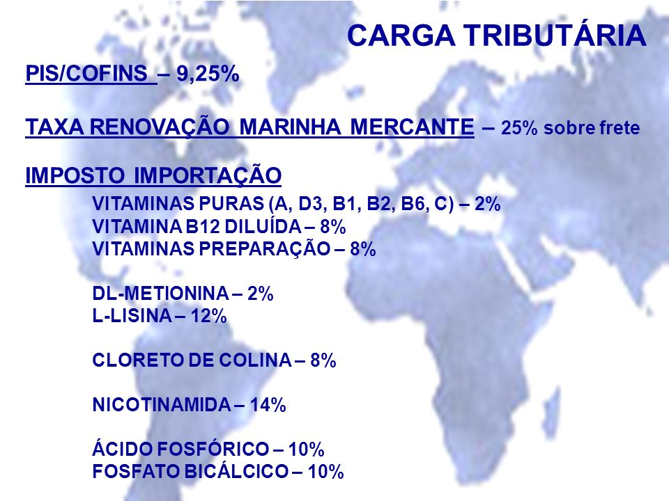 CARGA TRIBUTÁRIA PIS/COFINS – 9,25%