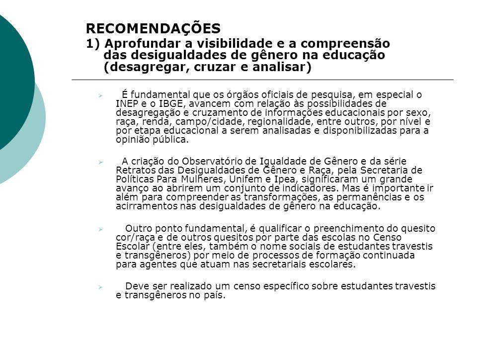 RECOMENDAÇÕES 1) Aprofundar a visibilidade e a compreensão das desigualdades de gênero na educação (desagregar, cruzar e analisar)