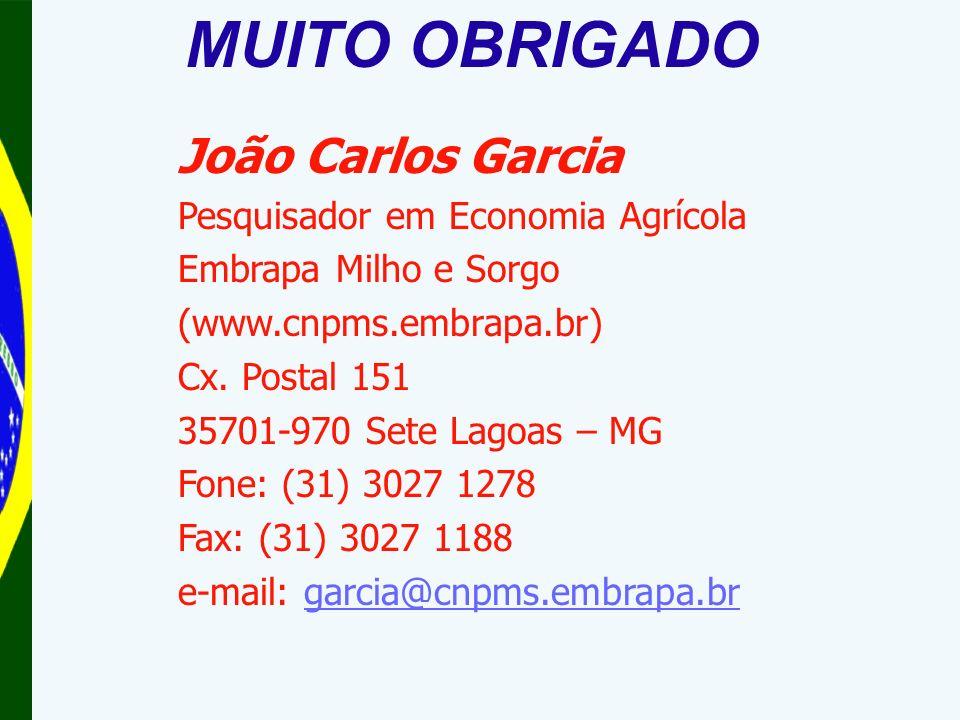 MUITO OBRIGADO João Carlos Garcia Pesquisador em Economia Agrícola
