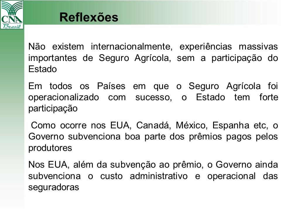 Reflexões Não existem internacionalmente, experiências massivas importantes de Seguro Agrícola, sem a participação do Estado.
