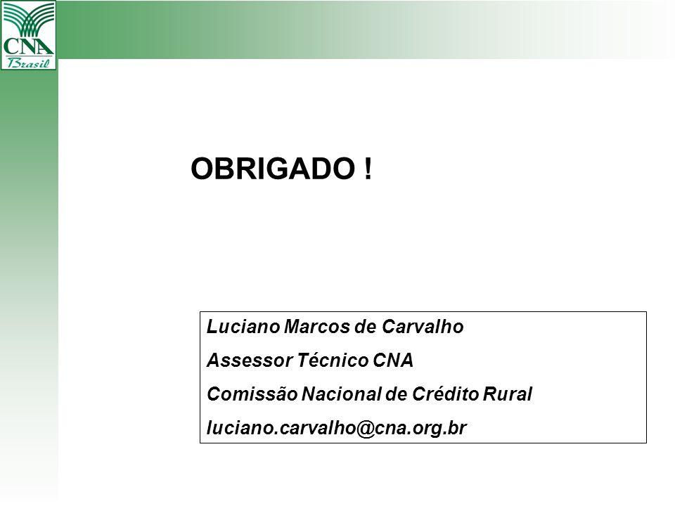 OBRIGADO ! Luciano Marcos de Carvalho Assessor Técnico CNA