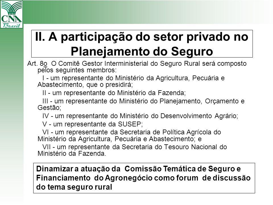 II. A participação do setor privado no Planejamento do Seguro
