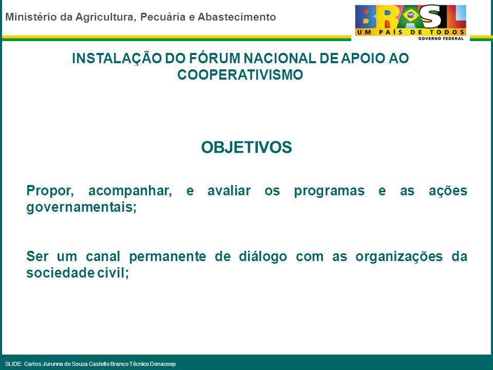 INSTALAÇÃO DO FÓRUM NACIONAL DE APOIO AO COOPERATIVISMO