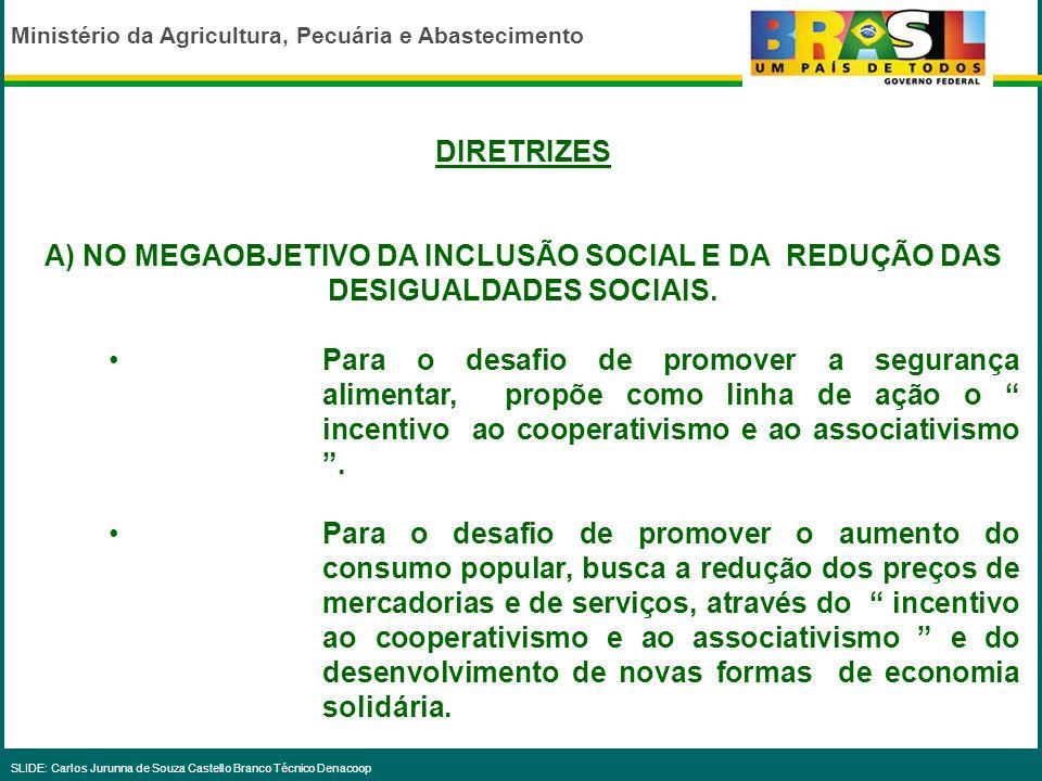 DIRETRIZESA) NO MEGAOBJETIVO DA INCLUSÃO SOCIAL E DA REDUÇÃO DAS DESIGUALDADES SOCIAIS.