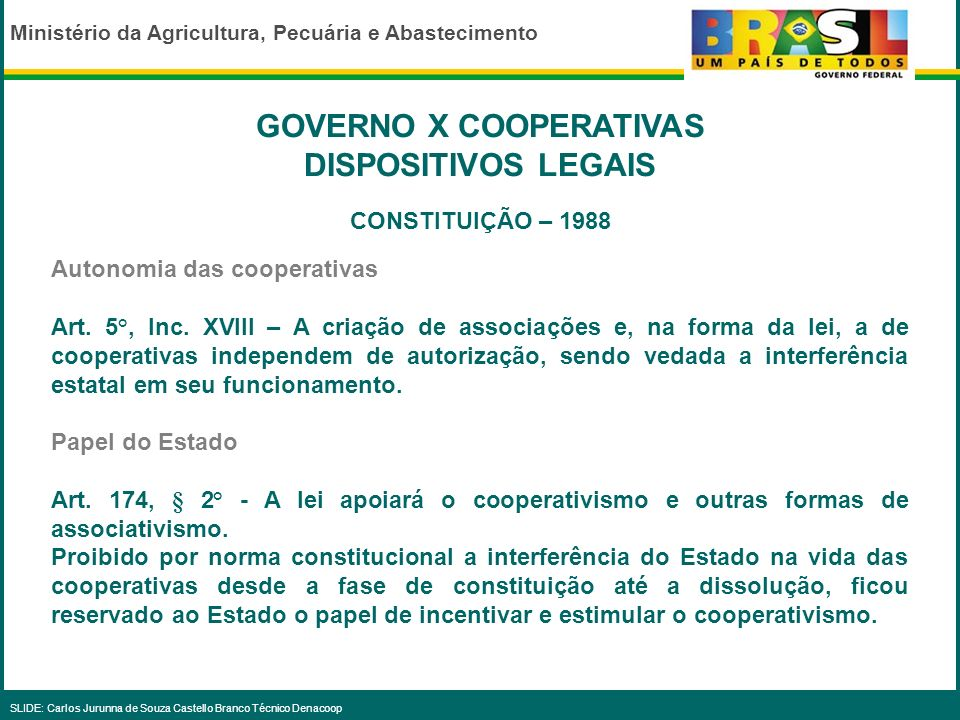 GOVERNO X COOPERATIVAS