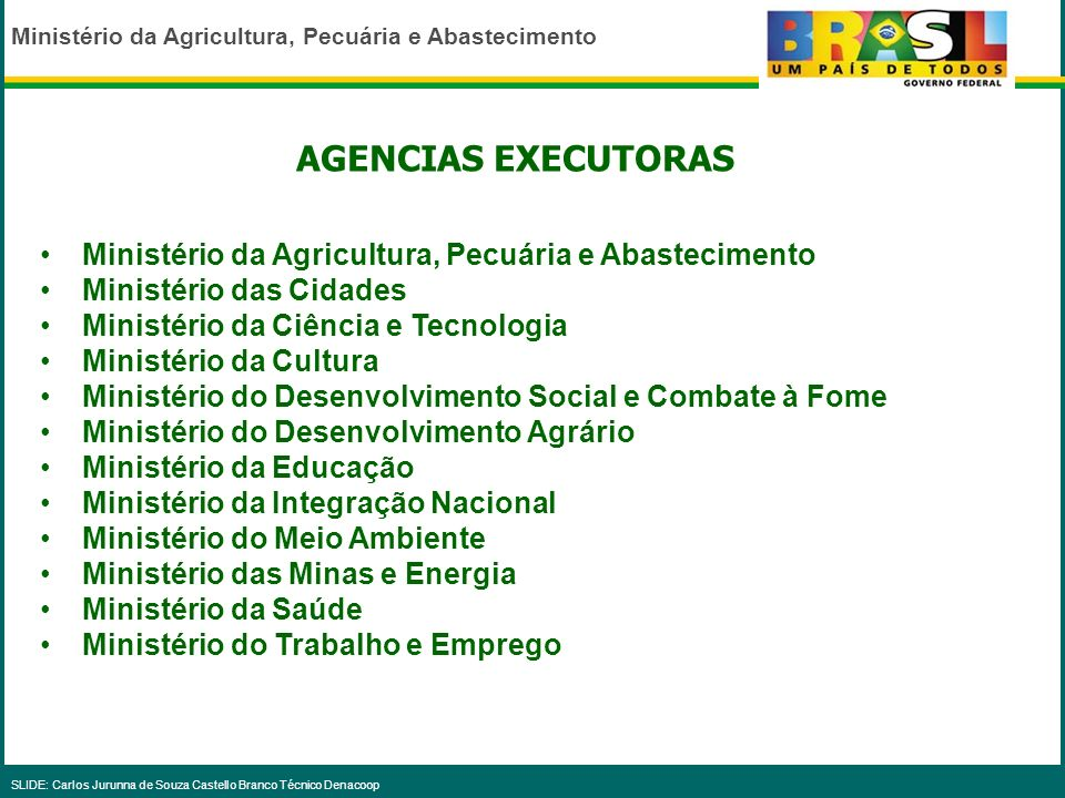 AGENCIAS EXECUTORAS Ministério da Agricultura, Pecuária e Abastecimento. Ministério das Cidades. Ministério da Ciência e Tecnologia.