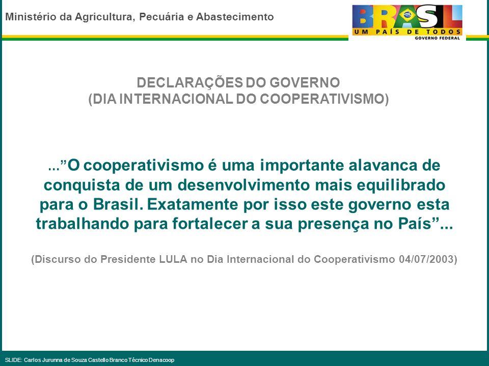 DECLARAÇÕES DO GOVERNO (DIA INTERNACIONAL DO COOPERATIVISMO)