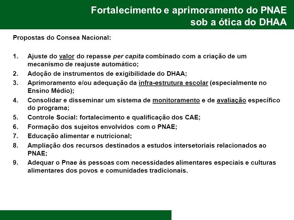 Fortalecimento e aprimoramento do PNAE sob a ótica do DHAA