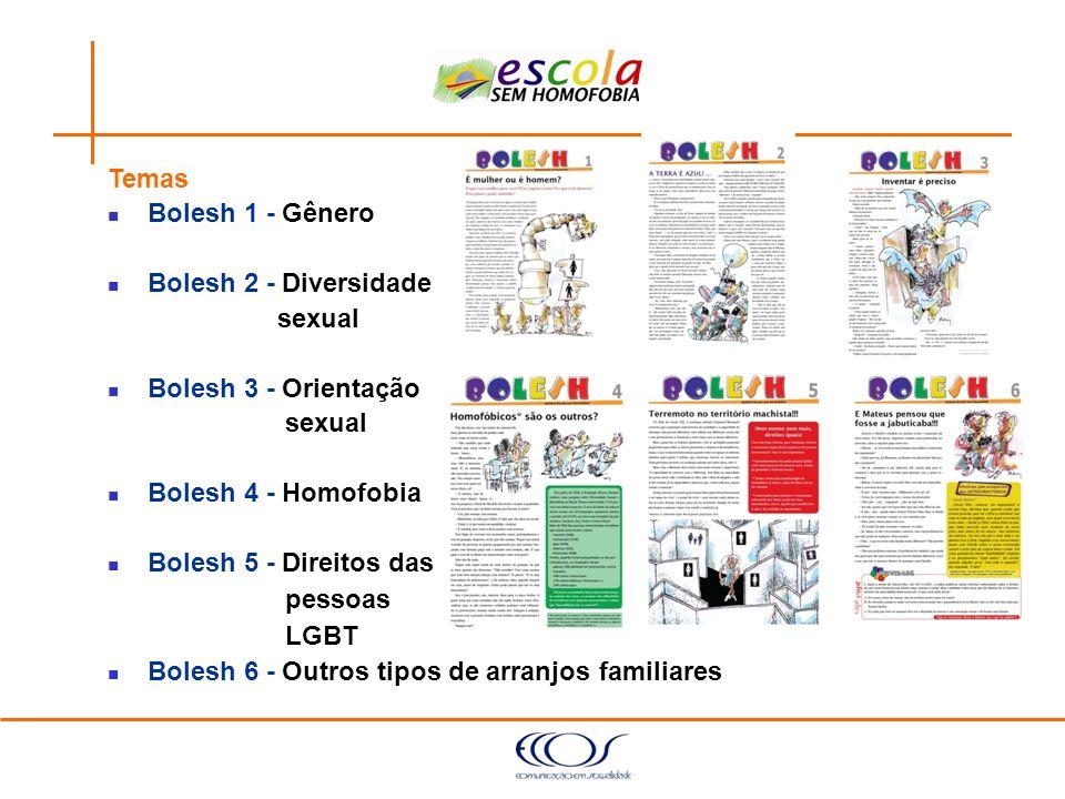 Temas Bolesh 1 - Gênero. Bolesh 2 - Diversidade. sexual. Bolesh 3 - Orientação. Bolesh 4 - Homofobia.