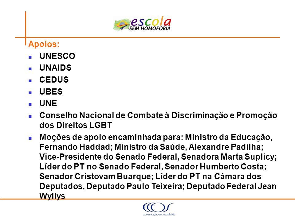 Apoios:UNESCO. UNAIDS. CEDUS. UBES. UNE. Conselho Nacional de Combate à Discriminação e Promoção dos Direitos LGBT.