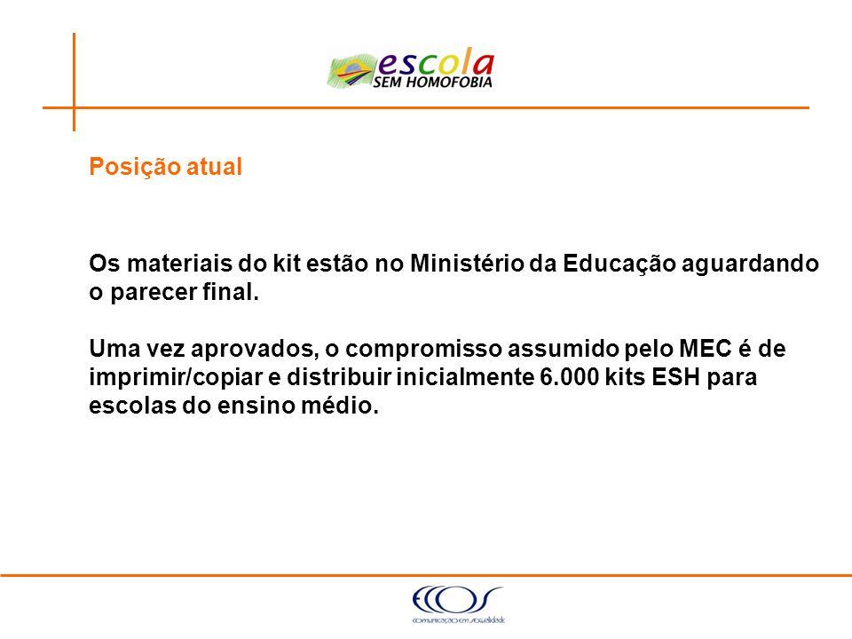 Posição atualOs materiais do kit estão no Ministério da Educação aguardando. o parecer final.