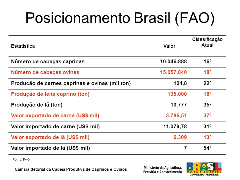 Posicionamento Brasil (FAO)