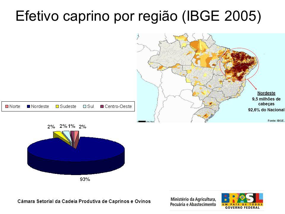 Efetivo caprino por região (IBGE 2005)