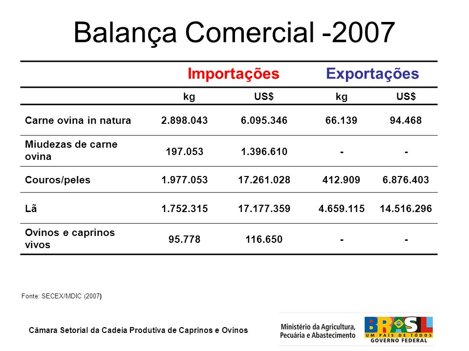 Balança Comercial -2007 Importações Exportações kg US$