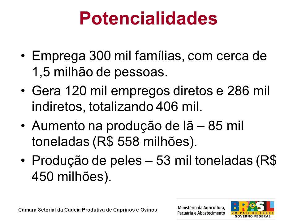 Potencialidades Emprega 300 mil famílias, com cerca de 1,5 milhão de pessoas.