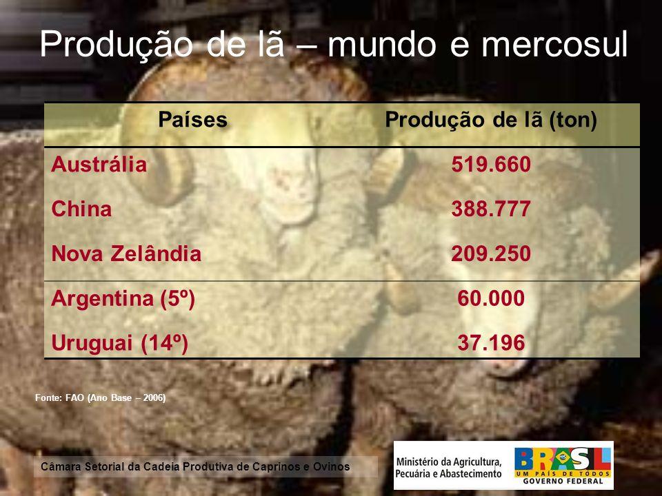 Produção de lã – mundo e mercosul