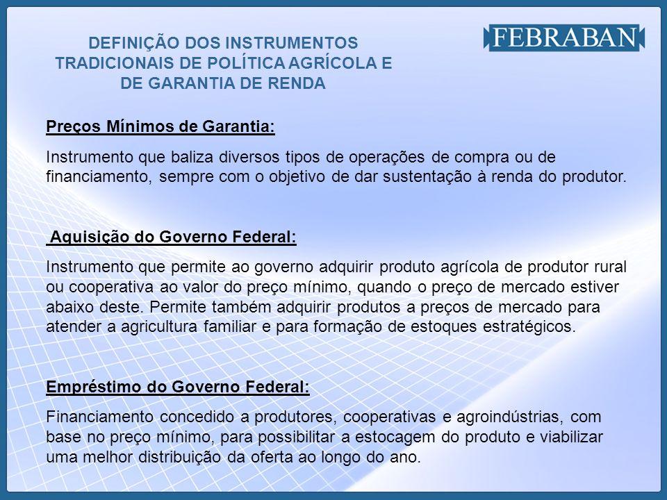 DEFINIÇÃO DOS INSTRUMENTOS TRADICIONAIS DE POLÍTICA AGRÍCOLA E DE GARANTIA DE RENDA