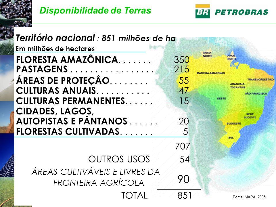 90 Disponibilidade de Terras Território nacional : 851 milhões de ha