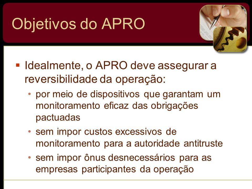 Objetivos do APRO Idealmente, o APRO deve assegurar a reversibilidade da operação: