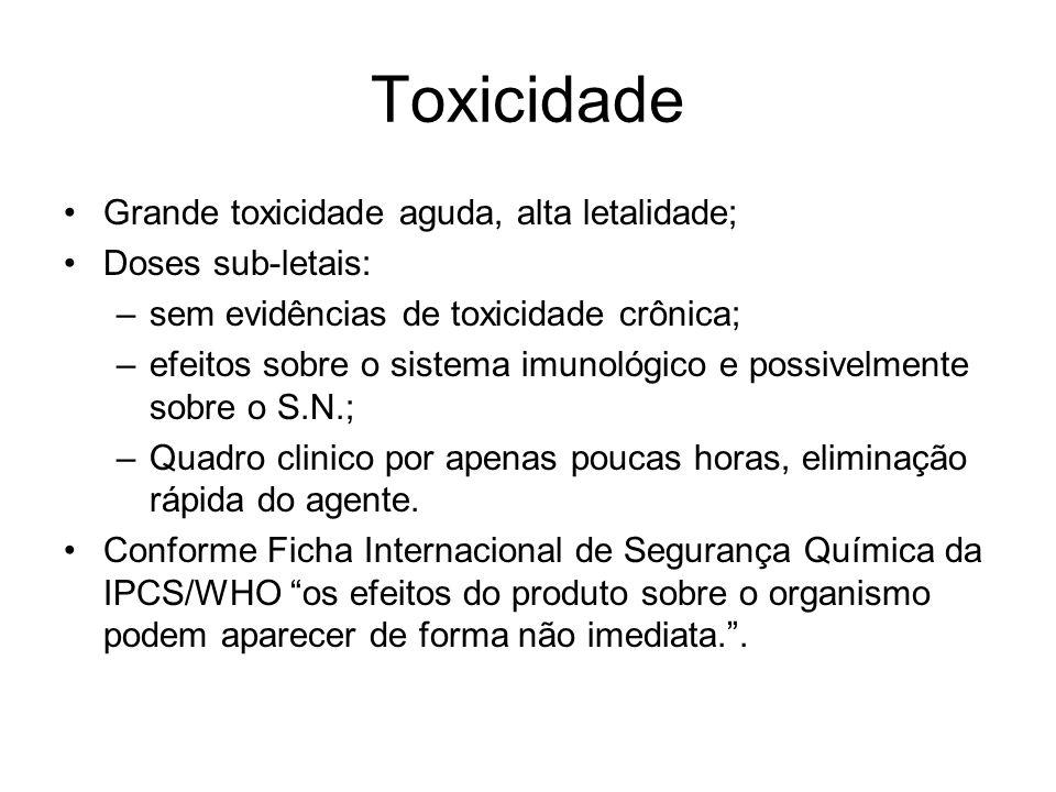 Toxicidade Grande toxicidade aguda, alta letalidade; Doses sub-letais:
