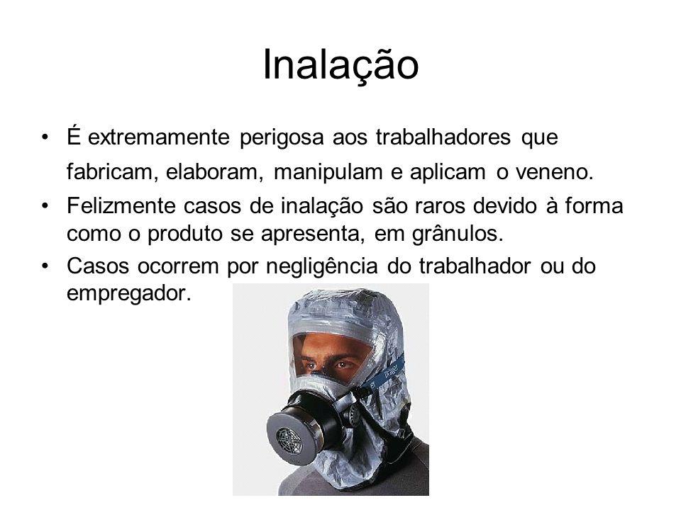 Inalação É extremamente perigosa aos trabalhadores que fabricam, elaboram, manipulam e aplicam o veneno.