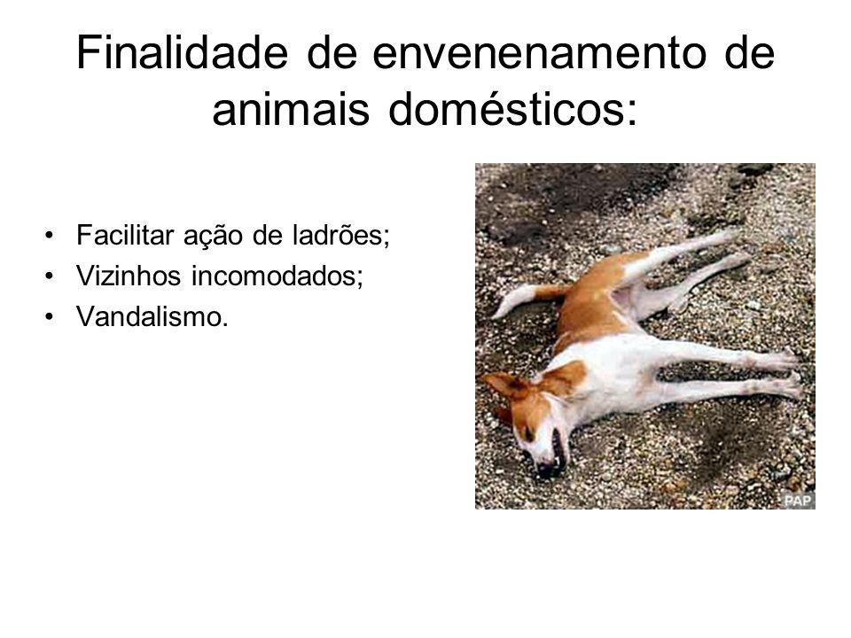 Finalidade de envenenamento de animais domésticos: