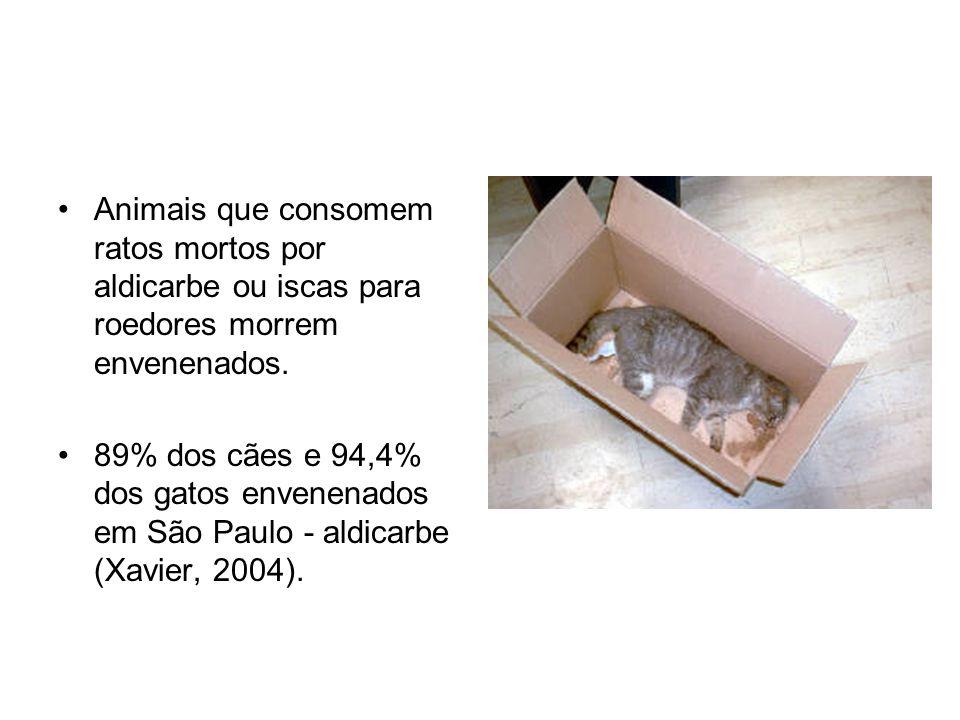 Animais que consomem ratos mortos por aldicarbe ou iscas para roedores morrem envenenados.