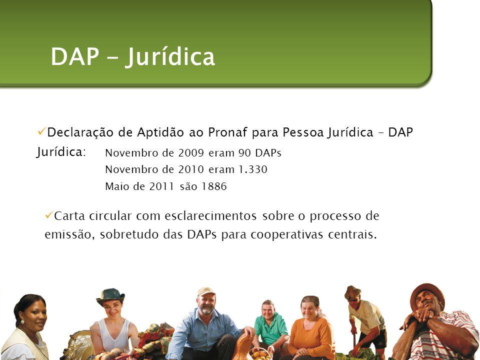 DAP - Jurídica Declaração de Aptidão ao Pronaf para Pessoa Jurídica – DAP Jurídica: Novembro de 2009 eram 90 DAPs.