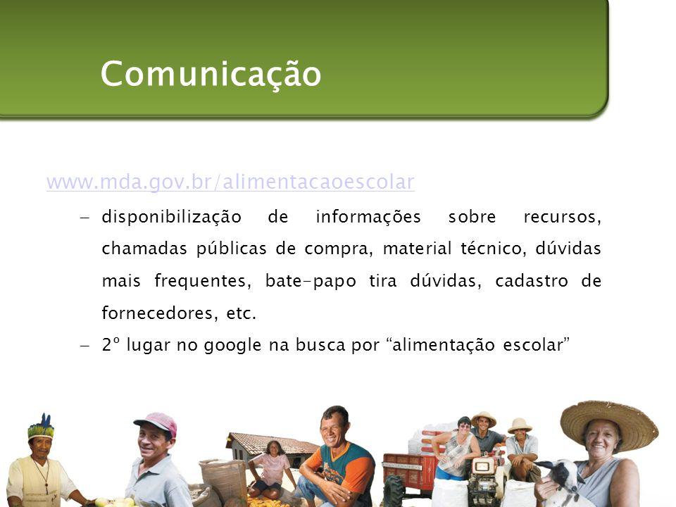 Comunicação www.mda.gov.br/alimentacaoescolar
