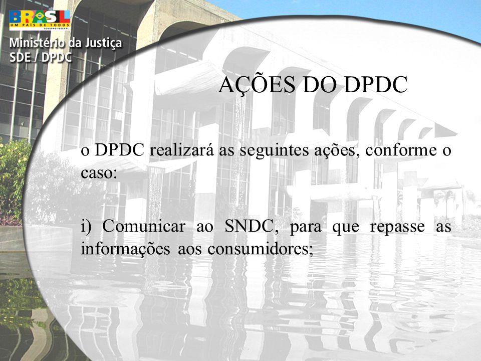 AÇÕES DO DPDC o DPDC realizará as seguintes ações, conforme o caso: