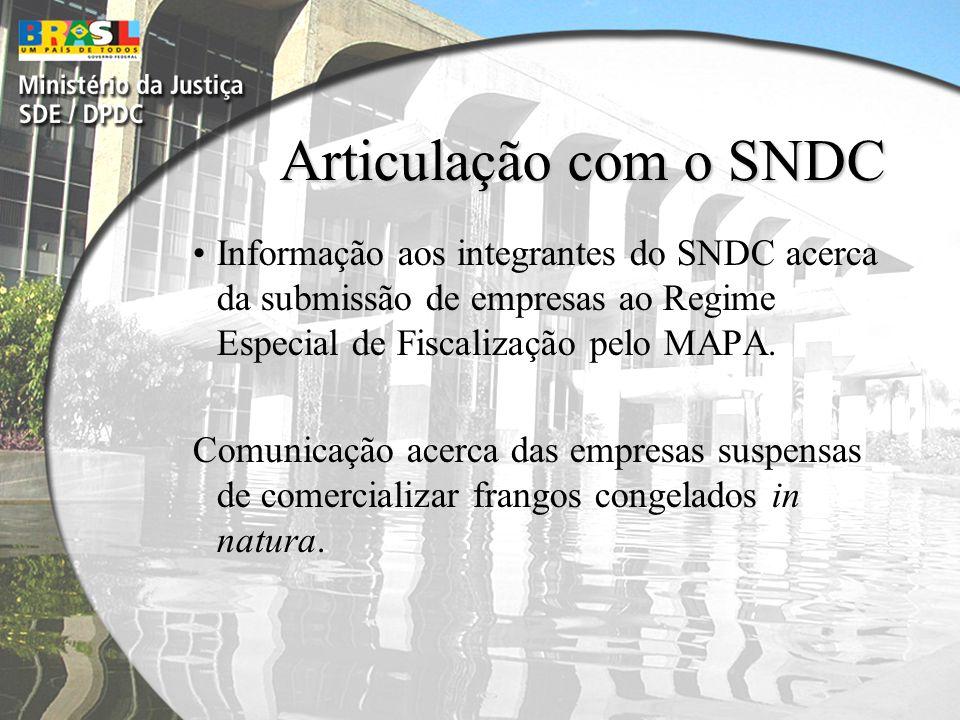 Articulação com o SNDC Informação aos integrantes do SNDC acerca da submissão de empresas ao Regime Especial de Fiscalização pelo MAPA.