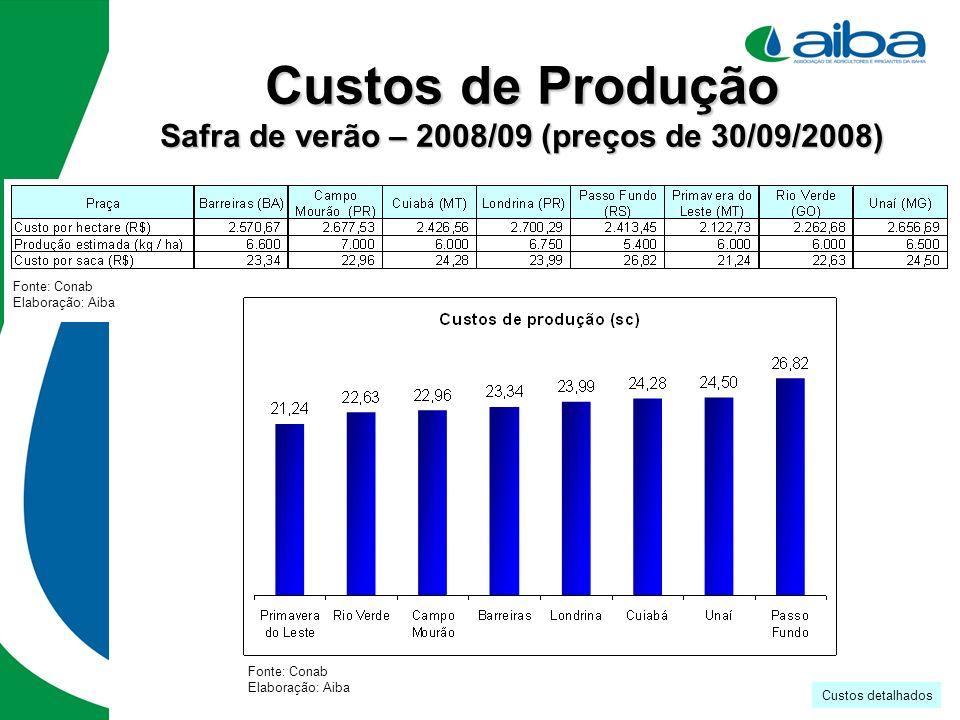 Custos de Produção Safra de verão – 2008/09 (preços de 30/09/2008)