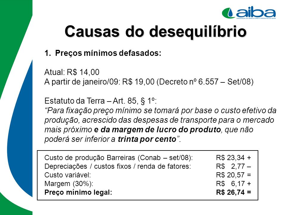 Causas do desequilíbrio