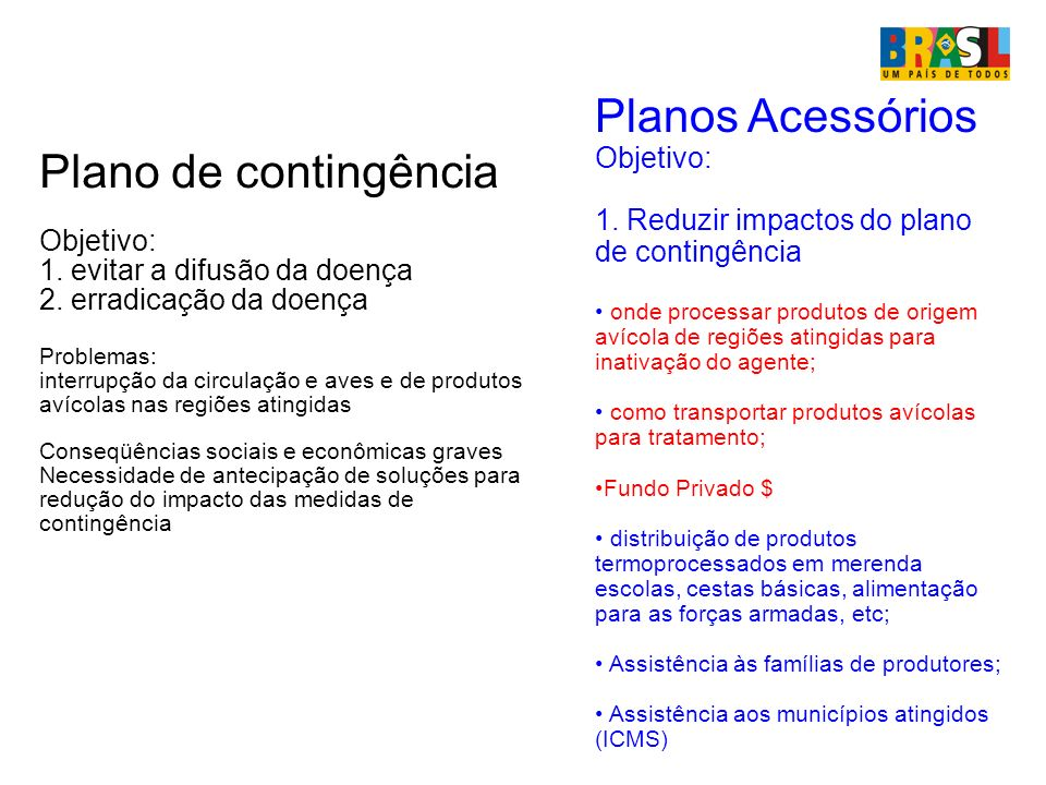 Planos Acessórios Plano de contingência Objetivo: