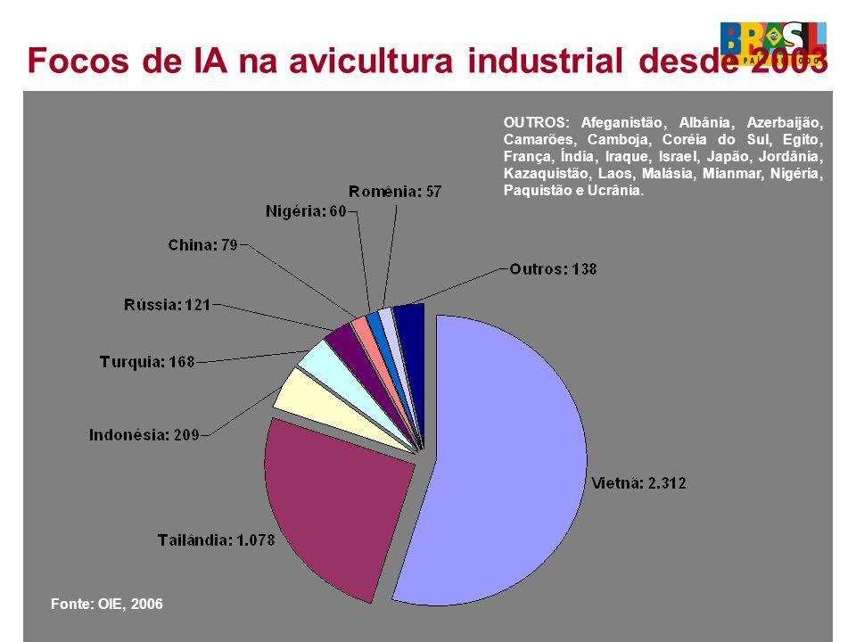 Focos de IA na avicultura industrial desde 2003