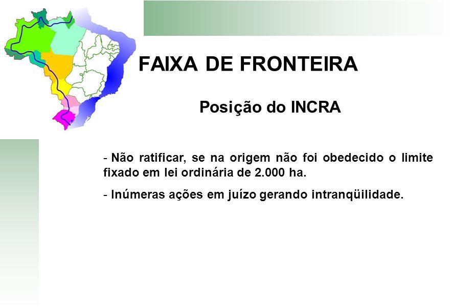 FAIXA DE FRONTEIRA Posição do INCRA