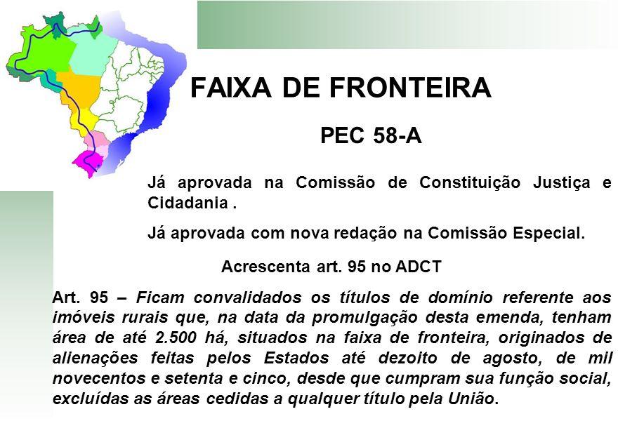 FAIXA DE FRONTEIRA PEC 58-A