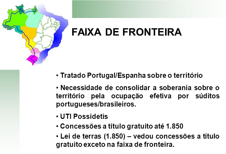 FAIXA DE FRONTEIRA Tratado Portugal/Espanha sobre o território