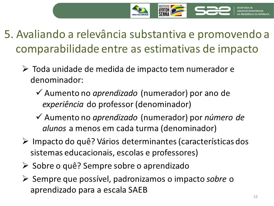5. Avaliando a relevância substantiva e promovendo a comparabilidade entre as estimativas de impacto