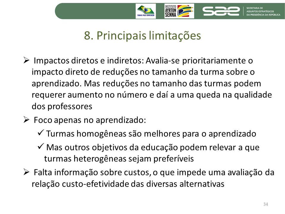 8. Principais limitações
