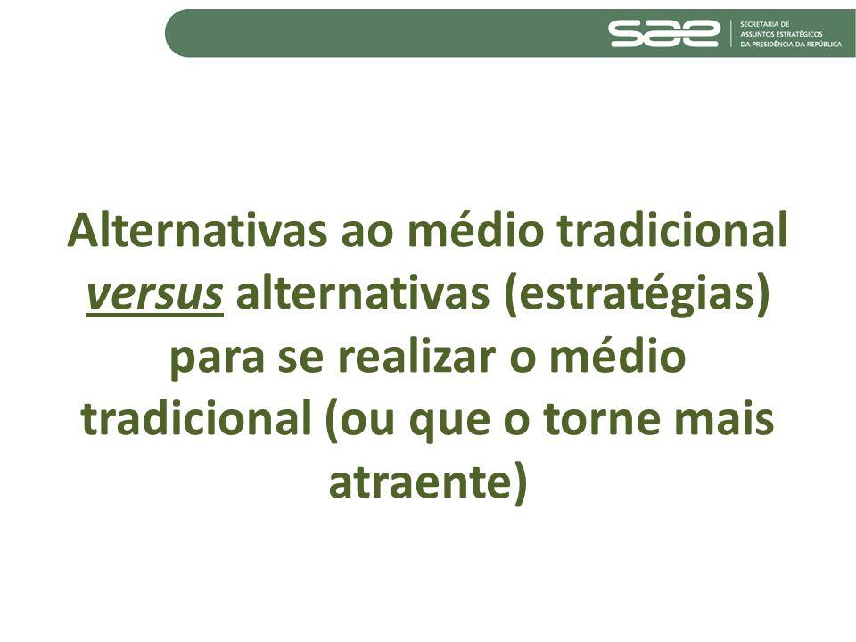 Alternativas ao médio tradicional versus alternativas (estratégias) para se realizar o médio tradicional (ou que o torne mais atraente)
