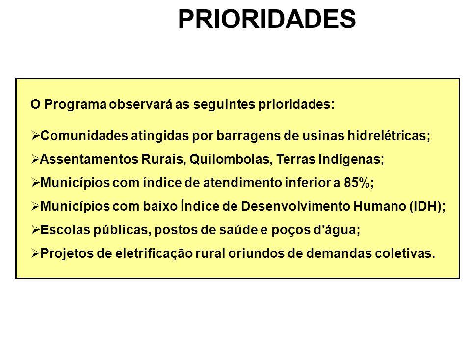 PRIORIDADES O Programa observará as seguintes prioridades: